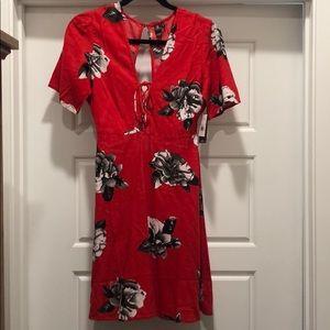 Volcom Red/ Black floral mini dress